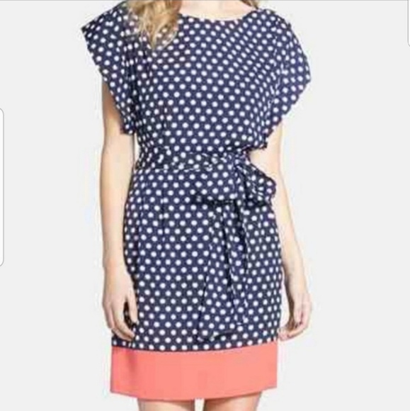 Eliza J Dresses & Skirts - Eliza J Polka Dot Slouch Sleeve Mid Length Dress